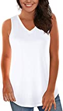 White Tanks for Women's and Teens Summer Lightweight Breathable Cami Tops M