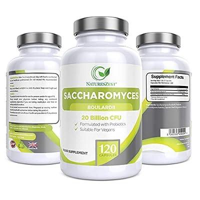 Natures Zest High Strength Saccharomyces Boulardii 20 Billion CFU with Prebiotics 120 Capsules Friendly Bacteria Yeast Supplement, Vegan & Gluten Free, up to 4 Month's Supply