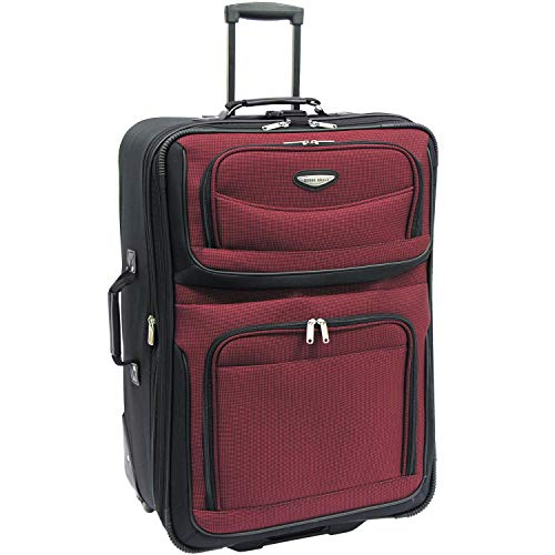 Travel Select Amsterdam Expandable Rolling Upright Luggage, Burgundy, Checked-Large 29-Inch