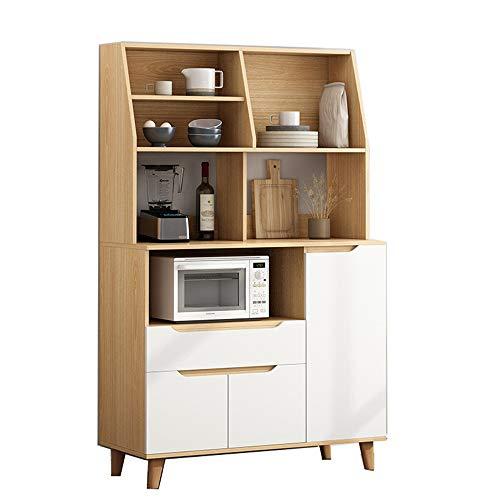 Armario de la cocina Cocina comedor soporte de almacenamiento mueble bar Sala de mediados de siglo moderno Aparador buffet Gabinete de almacenamiento grande ( Color : White , Size : 163x90x40cm )