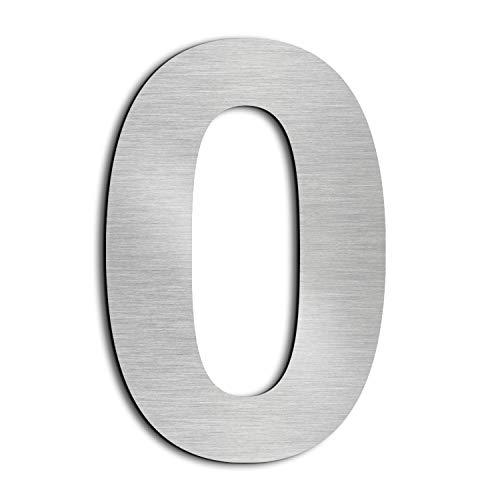 nanly Moderne Hausnummer aus massivem hergestellt 304-GROß 20.5 Zentimeter /8Zoll- Gebürsteter Edelstahl, Schwimmendes Aussehen, Einfache Installation(Ziffer 0)