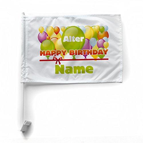 Herz & Heim® Autofahne zum Geburtstag - Happy Birthday - mit Alter und Namen des Jubilars
