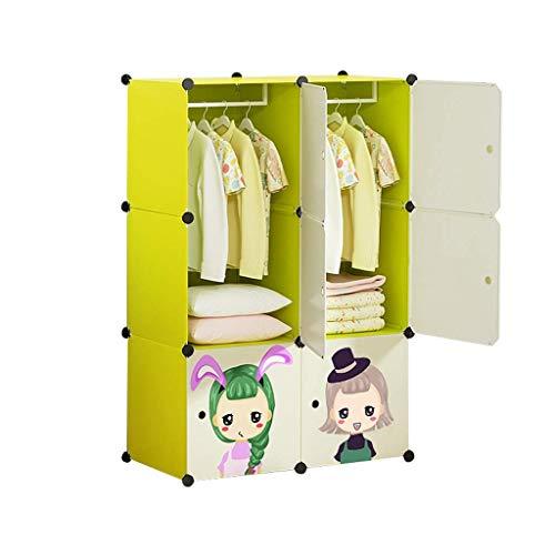 Armoires GGJIN de Simples Enfants Full Accrocher Closet bébé Vêtements Hanging Porte coulissante Fille Princesse (Color : Green)