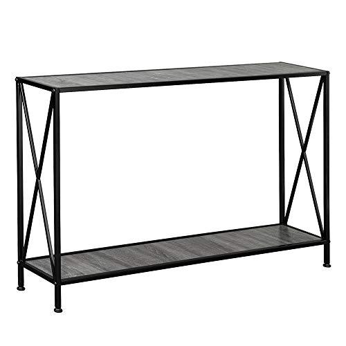 Premium 2 Tiers Sofa Console Table Decor Living Room Hallway, MDF Countertop Black Wrought Iron Base, Grey