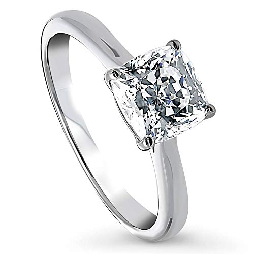 BERRICLE Rhodium Plated Sterling Silver Cushion Cut Cubic Zirconia CZ...