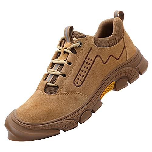 Zapatos de Seguridad Hombre Trabajo Cómodas,Punta de Acero Zapatos Ligero Zapatos de Trabajo Respirable Construcción Zapatos Botas de Seguridad,Khaki▁45