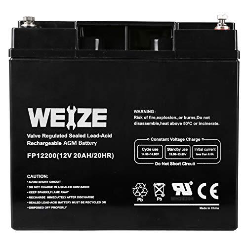 Weize 12V 20AH Lead Acid Battery Replace UB12200 FM12200 6fm20 EXP12200 12V 20AH 22AH Batteries
