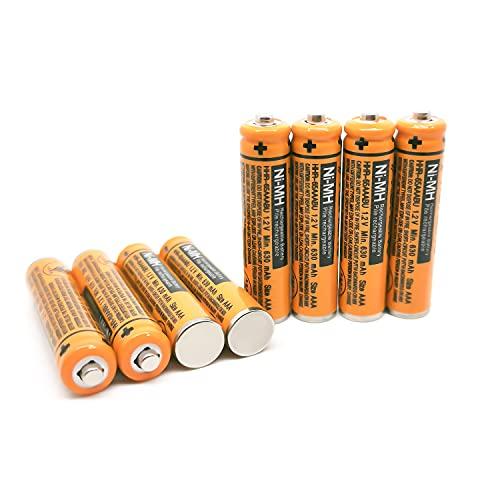 Batería AAA HR03 de repuesto para teléfonos inalámbricos Panasonic HHR-65AAABU HHR-55AAABU HHR-75AAA/B-4 Ni-MH recargable 8 piezas con caja de plástico (8 unidades HHR-65AAABU)