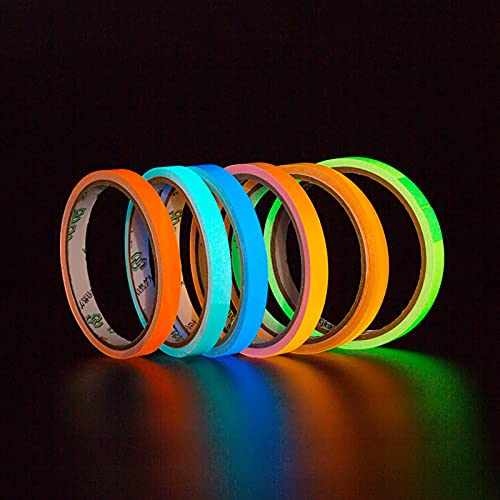 QYTS Fluorescent Cloth Tape, Luminous Neon Gaffer Tapes, Self Adhesive Uv Blacklight Reactive Spike Tape Glow in The Dark-Luminous tape6||5cm5m
