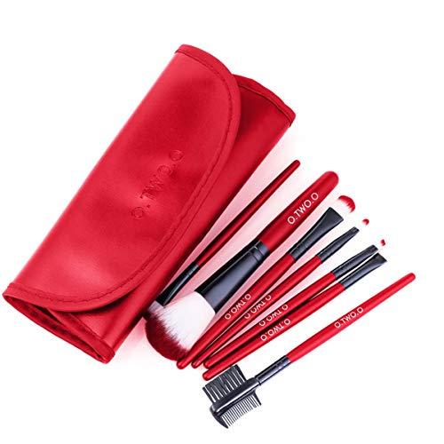 Ensembles de pinceaux de maquillage Outils de beauté multifonctionnels Poils de fibre de haute qualité Synthétique super doux et antibactérien 7 pièces - Rouge