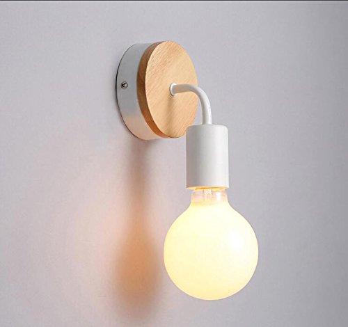 Bedzijde muur lamp wit ijzer slaapkamer nachtkastje creatieve wandlamp eenvoudige Scandinavische massief hout kleine wandlamp