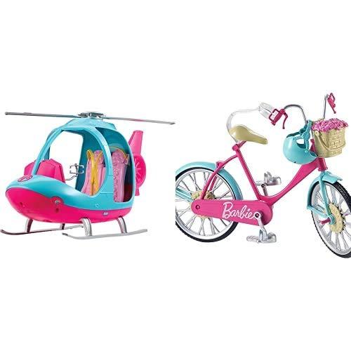 Barbie Fwy29 L'Elicottero Per Bambole, Rosa E Azzurro Con Elica Che Gira, Giocattolo Per Bambini 3 Anni & Bicicletta Per Bambole Con Casco E Accessori, Multicolore, Giocattolo Per Bambini 3 Anni