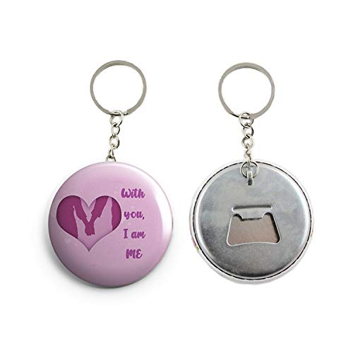 AVI Regular Size Metal Keychain Pink With you I am ME love quote for valentine 58mm Metal R7002322