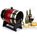 Barril de cerveza de roble doméstico de 3L, dispensador de madera de barril de vino Equipo de elaboración de cerveza, para cerveza, vino, borbón, tequila, ron, salsa picante(3L)