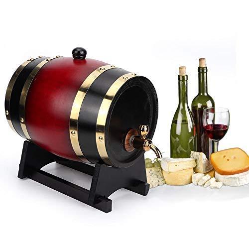 Retro Beer Barrel, Vintage Oak Barrel Wood Beer Wine Keg Bucket Dispensador Accesorios para equipos de elaboración de cerveza 3L(Vino rojo)