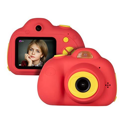 Miavogo Kinderkamera mit Dual-Objektiv Kamera für Kinder 8 Megapixel 2 Zoll Display, Rot