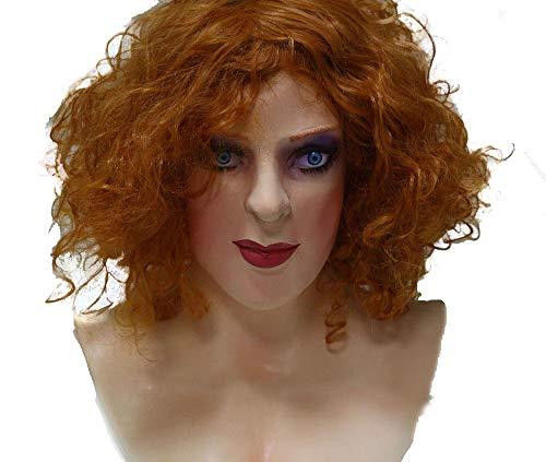 HENGYUTOY MASK Latex-Maske für Damen, Crossdresser-Maske, Cosplay, Kostüm, für Erwachsene, Unisex, männliches Kleid, blondes Haar