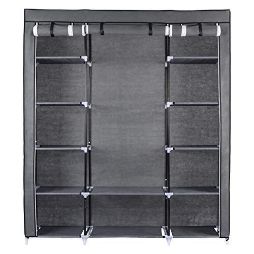 Ribelli Kleiderschrank Stoffschrank Faltschrank Stoffkleiderschrank Vlies grau schwarz 6 & 12 Fächer, Farbe:grau, Art:12 Fächer