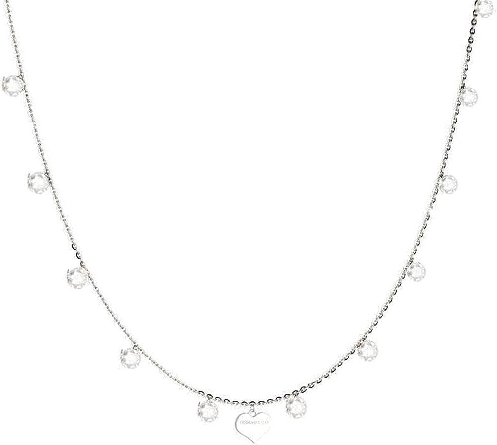 Rebecca collana donna in argento 925 placcato rodio e pietra bianca SLCKBB05