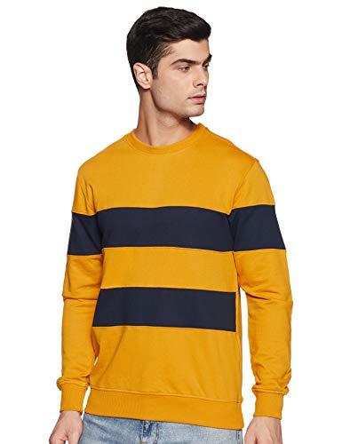 Amazon Brand - Symbol AW19MNSSW58 Men's Cotton Blend Round Neck Sweatshirt (Sunflower, L)