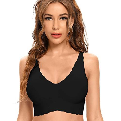 Niidor Women's Seamless Wireless Bra Thin Soft Comfy Daily Bras Yoga Sleep Leisure Bras for Women Black