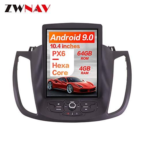 ZWNAV 10.4 Zoll vertikaler Bildschirm Android 9.0 One Din Auto Stereo Navi Bluetooth GPS Navigation für Ford Kuga Escape 2013-2018 Adapter Head Unit WiFi Carplay (4 + 64 GB)