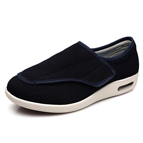Extra Ancho Diabéticos Zapatillas,Zapatos de viaje con terciopelo para mantener el calor y la grasa, ensanchar los pies hinchados-Paño de escalera_42,Hombre Ajustable de Velcro Zapatillas Ortopédica