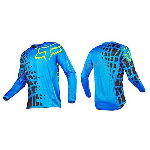 Camiseta De Manga Larga para Hombre De Ciclismo De Montaña MTB Maillot Ciclismo De Carretera (Blue-1,3XL)