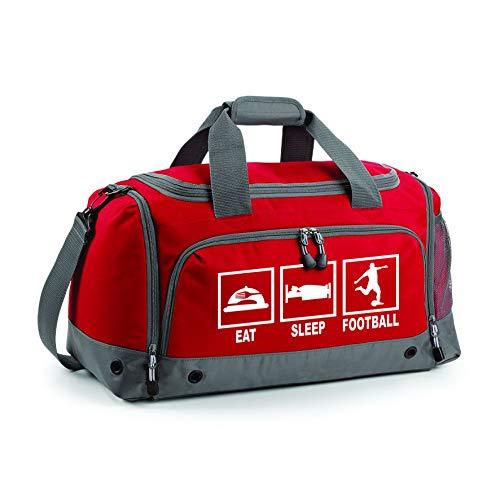 Sporttasche für Kinder, personalisierbar, Eat Sleep Football, Klassisches Rot