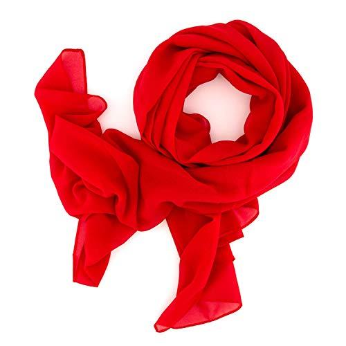 DOLCE ABBRACCIO by RiemTEX ® Schal Damen SWEET LOVE Stola Chiffon Tuch in 30 Unifarben Schals und Tücher Halstücher XXL Chiffontücher in feurigem Rot Halstuch für jede Jahreszeit (Clear Red)