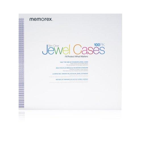 Pacote com 100 capas de joia para CD/DVD Memorex Slim Clear