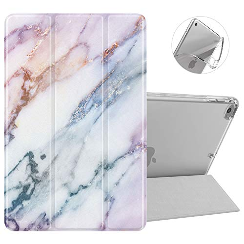 Dadanism iPad Mini 5 Case 5th Generation 2019 Case/iPad Mini 4 2015, Flexible TPU Translucent Back Case, Slim Lightweight Protective Shell Stand Smart Cover - Purple Marble (Auto Sleep/Wake)