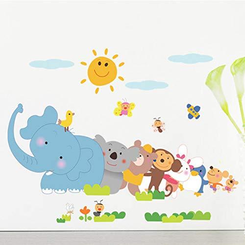 WWZEMLK Happy Animals Elephant Monkey Wall Sticker for Kids Room Bedroom Home Decor DIY Art Background Decals Cute Cartoon Zoo Stickers