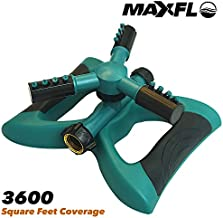 MAXFLO Sprinklers for Yard | Heavy Duty Water Sprinklers for Lawn | Oscillating Hose 360 Degree Rotary Sprinkler Watering System | Large Coverage Area | Quick Leakproof Connection