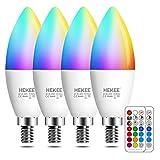 Ampoule LED E14 5W (équivalent 40W), ampoule de bougie, Couleur RGB Changement Variation Coloré RGBW Globe Blanc Chaud 2700K Dimmable par Télécommande (lot de 4)