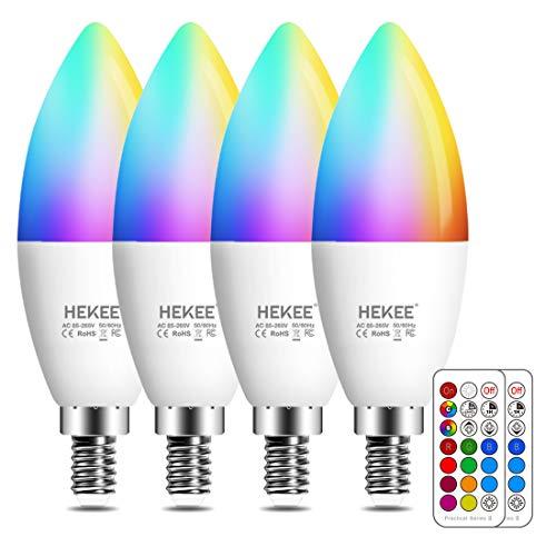Lampadina LED E14, 5W (equivalenti a 40W), lampadina a candela,Colorate RGBW RGB 2700K Sfera Luce Bianca Calda Dimerabile Cambiare Colore Lampadina Multicolore con Telecomando (Pacco da 4)