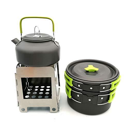 WYYHAA Multi-PCS Kit de Casseroles Camping Camping Set De Cuisine Kit Mess Batteries De Cuisine Antiadhésives Pots Légers Casseroles avec Sac-Filet Set pour Pique-Nique Backpacking,C