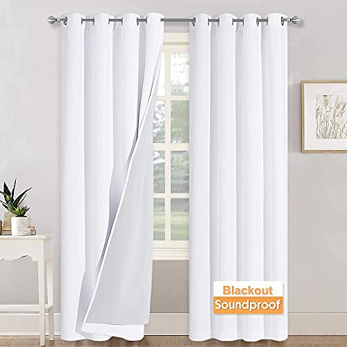 RYB HOME 3-in-1 Noise - Blackout - Thermal Insulation Living Room Window Curtains, Inside Detachable Felt Liner for Noise Reduce / Daytime Sleep / Bedroom, White, Wide 52 x Long 84 in, 1 Pair