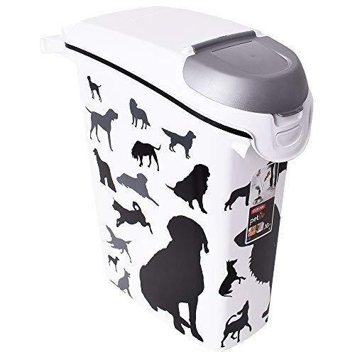 CURVER Futter-Container für Hunde 10kg/23l in weiß/schwarz, Plastik, 35 x 25 x 10 cm