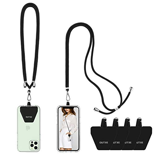 OUTXE Handykette Universal 2 Packs - 2× Einstellbar Halsband Schlüsselband, 4× Durable Patches, Nylon Universale Umhängeband kompatibel mit meisten Smartphones (schwarz)