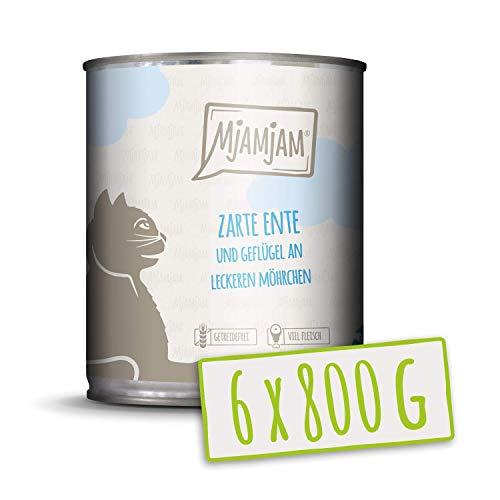 MjAMjAM - Pienso acuoso para Gatos - Pato y Aves Suaves con deliciosas Zanahorias - Sin Cereales - 6 x 800 g