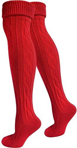Kniestrümpfe Kniebundhosen Sport und Wanderstrümpfe Farbe Rot Größe 39/42