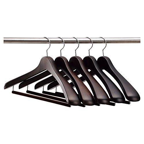 【ナカタハンガー】日本製 木製メンズ スーツハンガー 5本組 フェルトバー スモークブラウン SET-01(w:430)