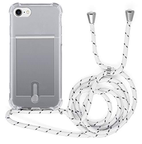 MyGadget Funda Transparente con Cordón para Apple iPhone 7/8 / SE 2020 - Carcasa Portatarjetas con Cuerda y Esquinas Reforzadas en Silicona TPU - Blanco