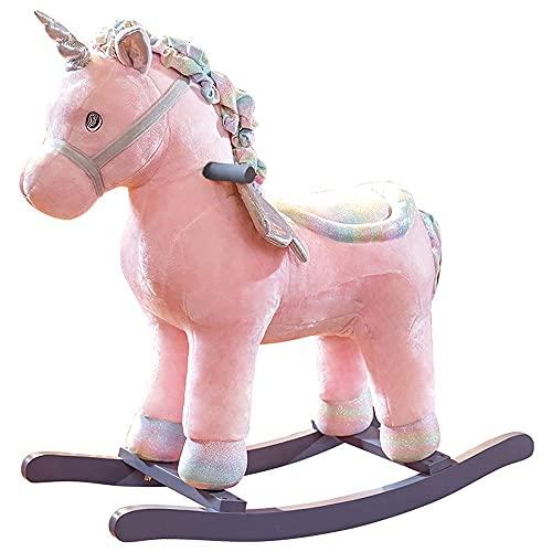 KCGNBQING Pink Horse Kids Rocking Caballo Baby Ride-On Silla Mecedora Niño Relleno Paseo Juguete Peluche Rocking Animal Rocking Caballo Rocking Caballo para 1-3 AÑOS NIÑA Y BOYKID Mecedora par
