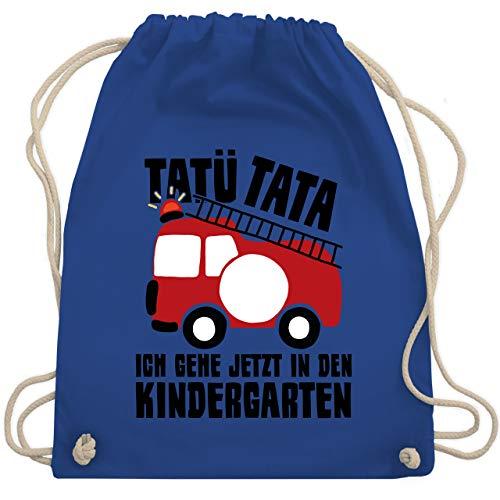 Shirtracer Kindergarten - Feuerwehrauto rund - Tatü Tata Ich gehe jetzt in den Kindergarten - Unisize - Royalblau - feuerwehrauto - WM110 - Turnbeutel und Stoffbeutel aus Baumwolle
