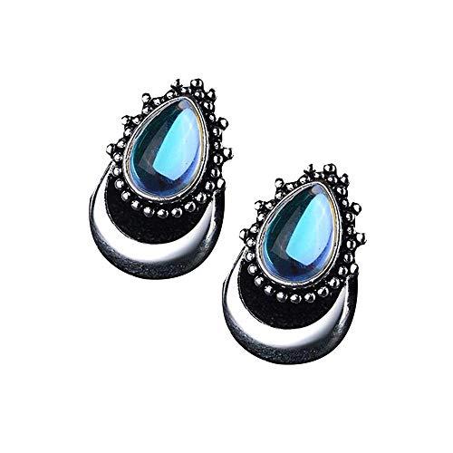 YANGYUAN Pendientes de la Vendimia Piedra de Luna, joyería Espárragos Regalo, joyería de Piedra Artificial Pendientes Lágrima Regalos-Plata