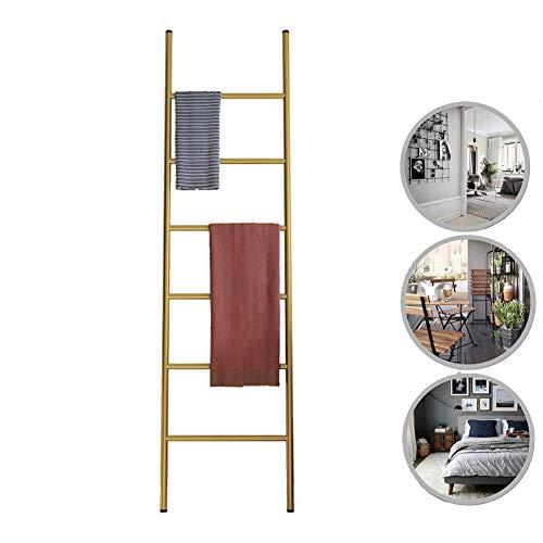 M-TOP Handdoekenrek, roestvrij staal, vrijstaand, decoratieve ladder, handdoekhouder, staand, kledingrek, verrijdbaar, zonder boren, met 6 sporten, ladderrek voor badkamer, woonkamer, loft