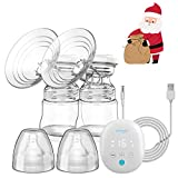 Electric Breast Pump – Elebebe Double Breast Pump Massage/Pumping/Auto/Memory Modes, 16 Levels Quiet Softer...