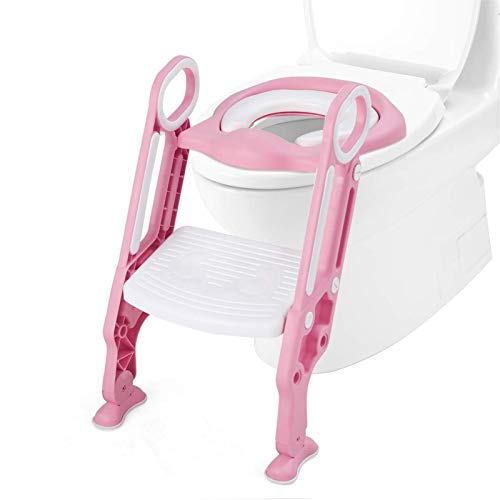 Adaptador WC Niños con Escalera Ajustable Asiento de inodoro para bebés y niños pequeños Potty Training Infantil Formación, Seguro, Antideslizante (Color : Pink)